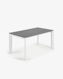 Extendable table Axis 160 (220) cm porcelain Vulcano Roca finish white legs