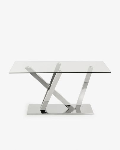 Nyc table 180 cm glass stainless steel legs
