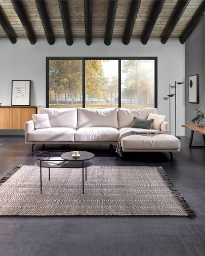 Galene beige 3-seater sofa with right chaise longue 314 cm