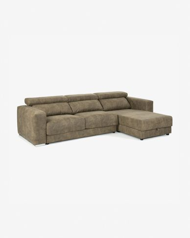 Greyish-brown 3-seater Atlanta sofa with chaise longue 290 cm