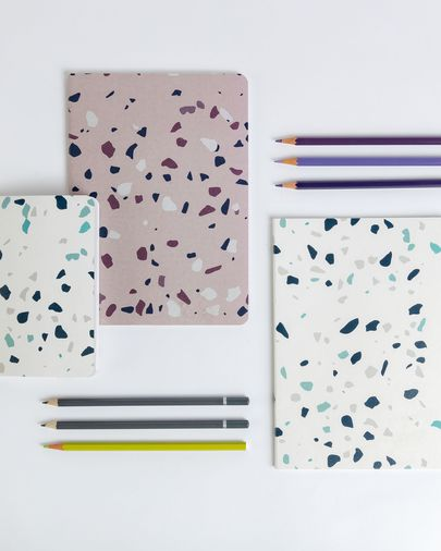 Notebook Naiara DIN A5 60 pages white and blue terrazzo