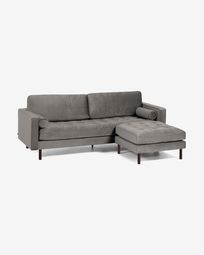 Debra dark grey velvet 3-seater sofa with pouf 222 cm