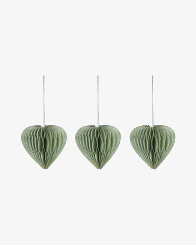 Uriel set of 3 green Christmas baubles