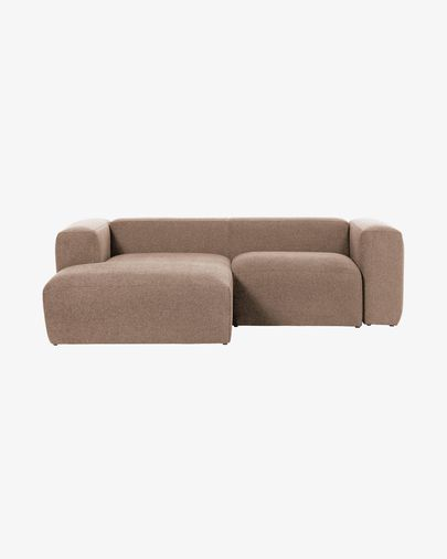 Pink Blok 2-seater sofa with left chaise longue 240 cm