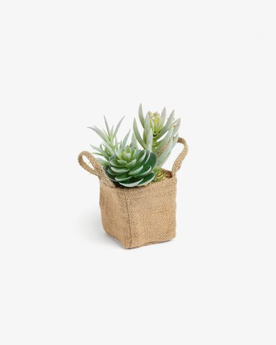 Atificial succulent mix in natural raffia pot