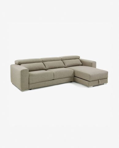 Beige 3-seater Atlanta sofa with chaise longue 290 cm