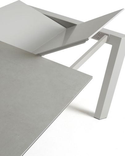 Extendable table Axis 140 (200) cm porcelain Hydra Lead finish gray legs