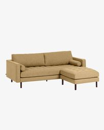 Debra mustard 3-seater sofa with pouf 222 cm
