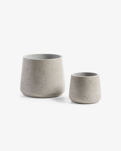 Set Low de 2 cache-pots gris