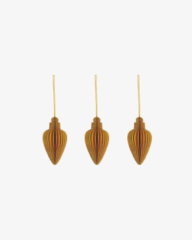 Yaril set of 3 yellow Christmas baubles
