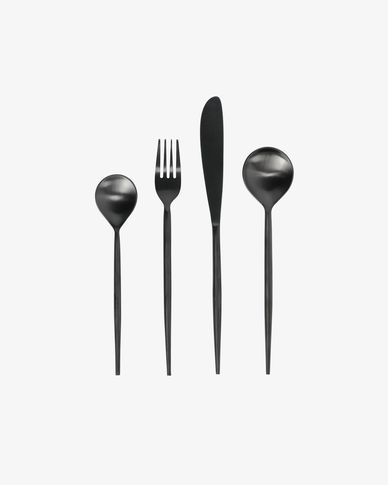 Fer rounded handle 16-piece black cutlery set