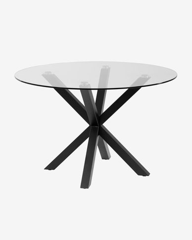 Full Argo table glass black Ø 119 cm