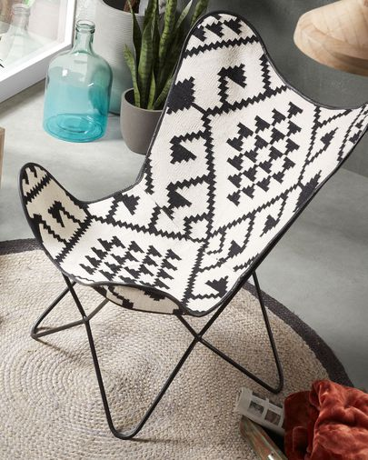 Fly armchair white and black