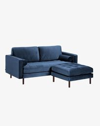 Debra blue velvet 2 seaters sofa with pouf 182 cm