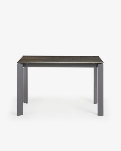 Table extensible Axis 120 (180) cm grès cérame finition Iron Moss pieds anthracite