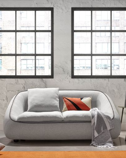 Light grey 2-seater Safira sofa 160 cm