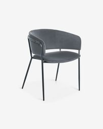 Runnie grey velvet armchair