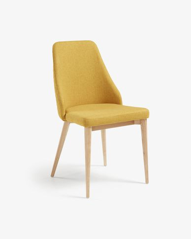 Rosie mustard chair natural finish