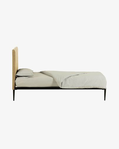 Bed met boxspring Nelly 90 x 190 cm mosterd