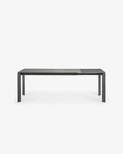 Extendable table Axis 160 (220) cm porcelain Hydra Lead finish anthracite legs