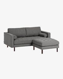 Debra dark grey 2-seater sofa with pouf 182 cm
