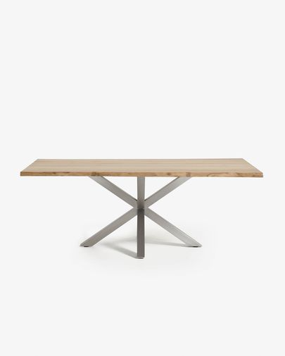 Argo table 220 cm bleached oak matt stainless steel legs