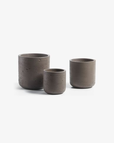 Set Low de 3 cachepots marron