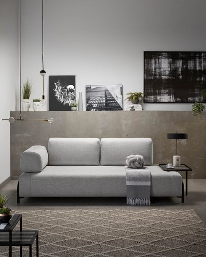 Light grey 3 seaters Compo sofa with big tray 252 cm