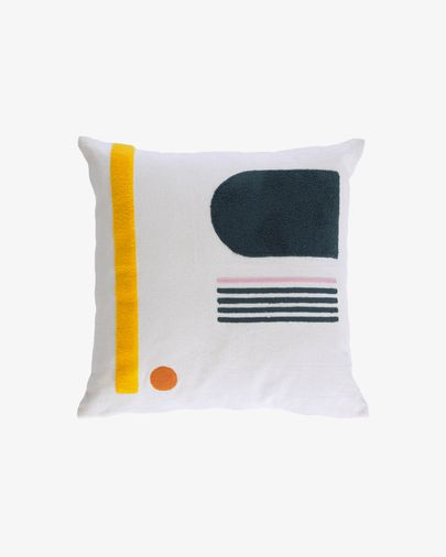 Natala blue semicircle and rectangle with stripes cushion cover 45 x 45 cm