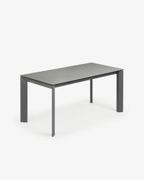 Table extensible Axis 160 (220) cm grès cérame finition Hydra Plomb pieds anthracite