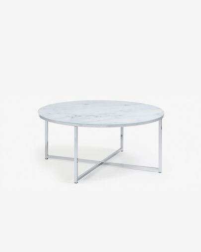 Divid coffee table 80 cm, glass marble effect