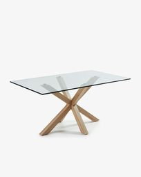 Argo table 180 cm glass wood effect legs