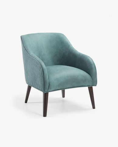Fauteuil Bobly turquoise pieds finition wengé
