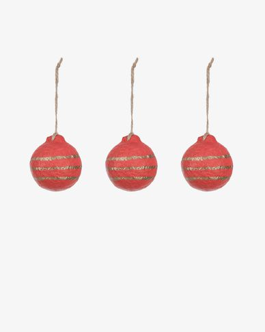 Galia red striped bauble set