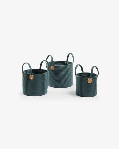 Bowy set of 3 baskets green