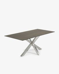 Argo table 200 cm porcelain Iron Moss finish matt stainless steel legs