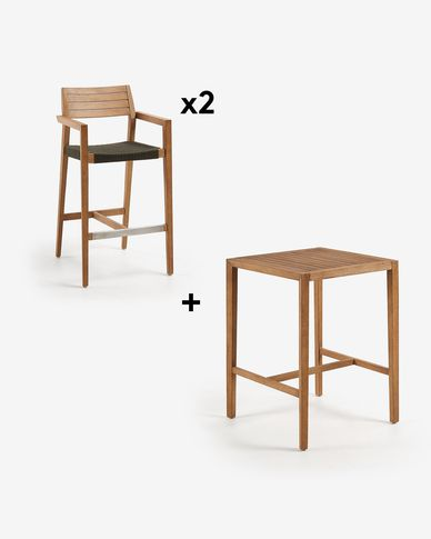 Square Coline Table Pack with Two 77 cm Tess Stools