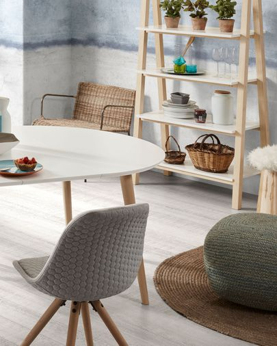 Oqui extendable table round 120 (200) x 120 cm white