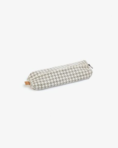 Pencil case Foa in beige fabric with mole print with zipper