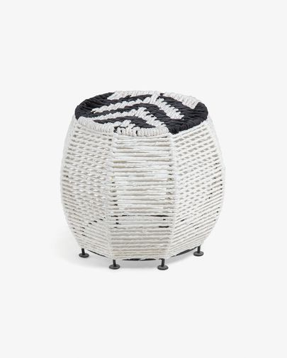 Small Kali black and white footstool