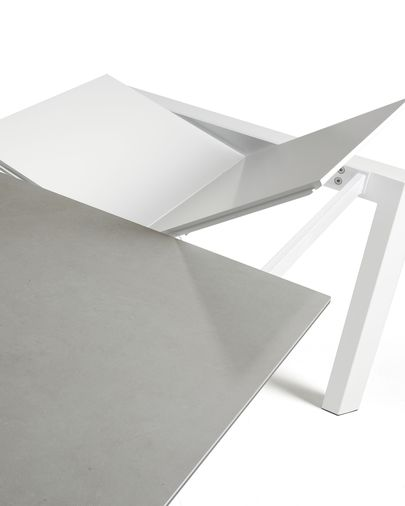 Table extensible Axis 140 (200) cm grès cérame finition Hydra  Plomb pieds blanc
