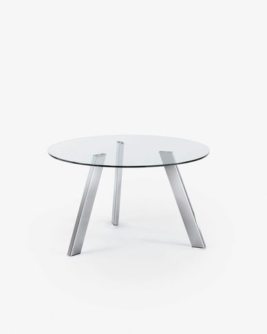 Carib table glass and steel legs Ø 130 cm