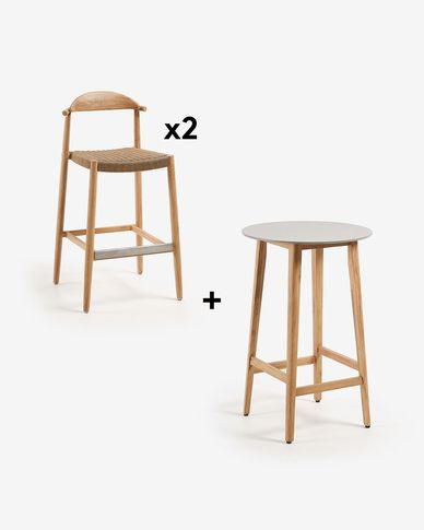 Georgette Table Pack with Two 77 cm Nina Stools
