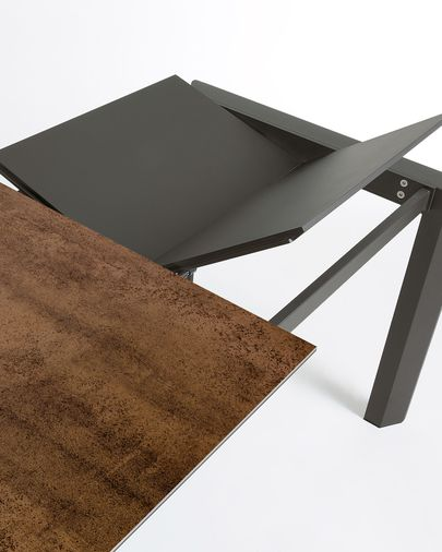 Extendable table Axis 160 (220) cm porcelain Iron Corten finish anthracite legs