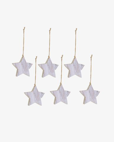 Keira set of 6 Christmas star decorations