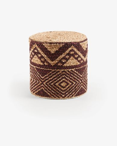 Round pouf Downtown jute burgundy