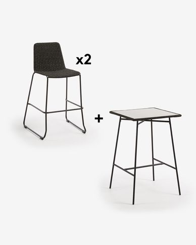 Leora Table Pack with Two Dark Grey Brianne Stools