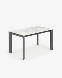 Table extensible Axis 140 (200) cm grès cérame finition Kalos Blanc pieds anthracite