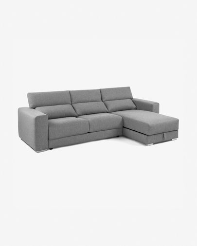 Light grey 3 seater Atlanta sofa with chaise longue 290 cm