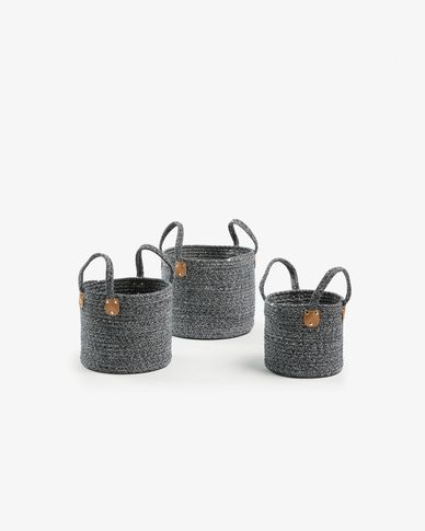 Bowy set of 3 baskets dark blue
